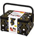 Singer® Large Sewing Basket with Notions Kit-Black & Gold