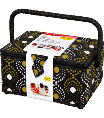 Singer® Large Sewing Basket with Notions Kit-Black & Gold