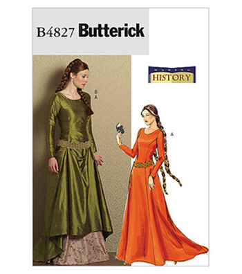 Butterick Pattern B4827-Floor-Length Gored Dress and Skirt with Belt