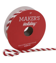 Maker's Holiday Christmas Cord Ribbon 1/6''x9'-Red & White, , hi-res