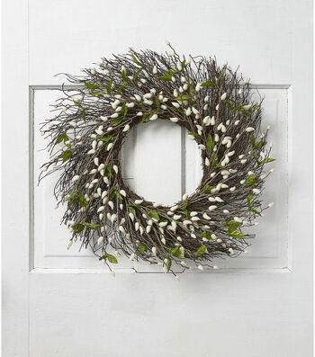 Fresh Picked Spring 22'' Pussy Willow & Twig Wreath-White & Green