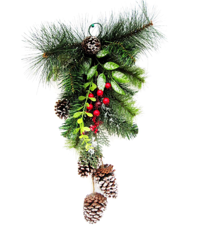 blooming holiday christmas snowed pinecone u0026 greenery wall decor