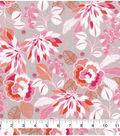 Keepsake Calico™ Cotton Fabric 43\u0022-Pink Flamingo Floral On Gray