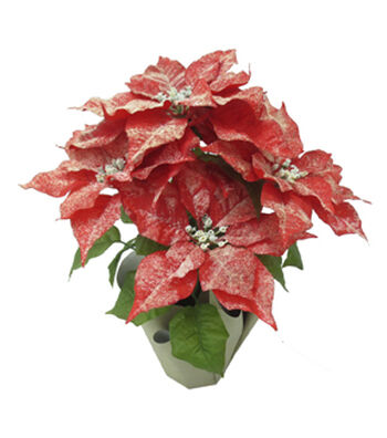 Blooming Holiday Christmas 18.5'' Poinsettia in Pot-Glisten Red