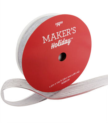 Maker's Holiday Christmas Value Ribbon 1.5''x125'-Silver Stripe