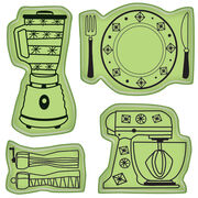 Inkadinkado Cling Mini Stamp Kitchen Icons, , hi-res