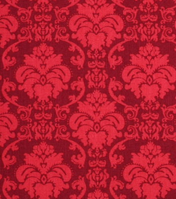 """Holiday Showcase™ Harvest Cotton Fabric 43""""-Burgundy Damask"""