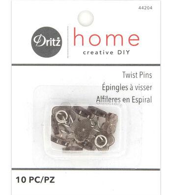 Dritz Home Upholstery Twist Pins Decorative Head Smoke Tint 10pcs