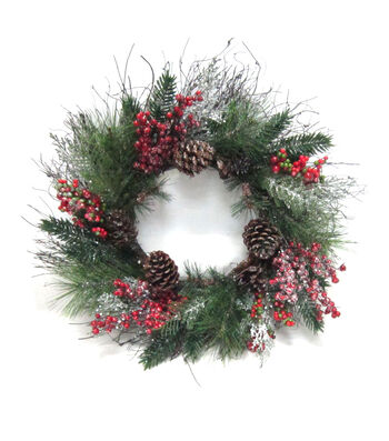 Blooming Holiday Grapevine, Berry & Pinecone Wreath with Glisten-Red