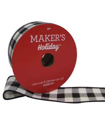 Maker's Holiday Christmas Ribbon 1.5''X30'-Black & White Plaid