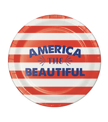 Americana Patriotic 8 Pack Paper Lunch Plate-America The Beautiful