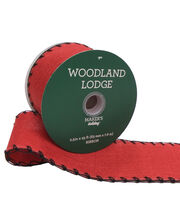 Maker's Holiday Christmas Linen Ribbon 2.5''x25'-Red with Black Edge, , hi-res