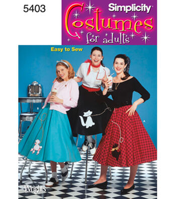 Simplicity Pattern 5403-Misses  Poodle Skirt Costumes