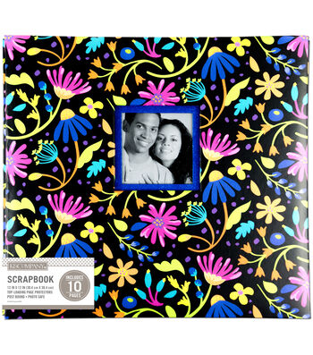 K&Company 12''x12'' Scrapbook with Window-Floral on Black
