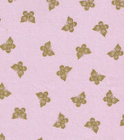 "Keepsake Calico™ Cotton Fabric 43""-Butterflies Pink with Gold Metallic, , hi-res"
