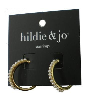 hildie & jo™ Gold Hoop Earrings-Pearls