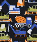 Snuggle Flannel Fabric 42\u0027\u0027-Construction Trucks on Black