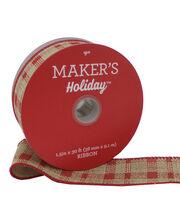 Maker's Holiday Christmas Ribbon 1.5''x30'-Red & Natural Plaid, , hi-res