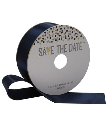 Save the Date 1.5'' X 30' Ribbon-Navy Satin