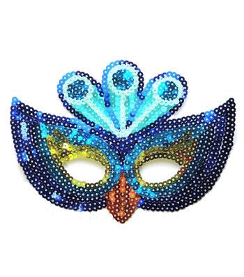 Maker's Halloween Child Sequin Mask-Peacock