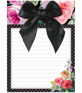 Anna Griffin Grace Blk Floral Notepad