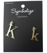 hildie & jo™ 2 Pack Letter 'K' Upper & Lower Case Gold Pendants, , hi-res