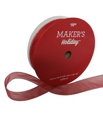 "Maker's Holiday Christmas Sheer Value Ribbon 1.5""x125'-Red"
