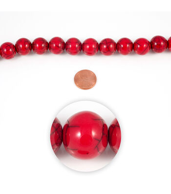 Blue Moon Strung Resin Beads,Round,Red,Crackle