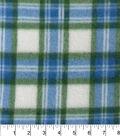 Blizzard Fleece Fabric 58\u0022-Blue Green White Plaid