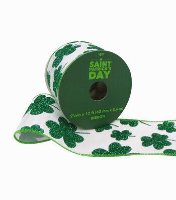 St. Patrick's Day Ribbon 2.5''x12'-Green Glitter Shamrocks on White