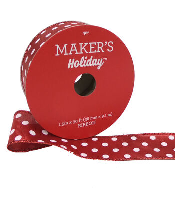 Maker's Holiday Christmas Ribbon 1.5''x30'-White Dots on Red