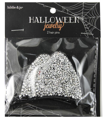 hildie & jo™ Halloween 2 pk Silver Hair Pins with Bling Cat Ears