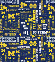 "University of Michigan Wolverines Cotton Fabric 44""-Glitter, , hi-res"