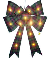 Maker's Holiday Christmas Bow with LED-Green Plaid, , hi-res