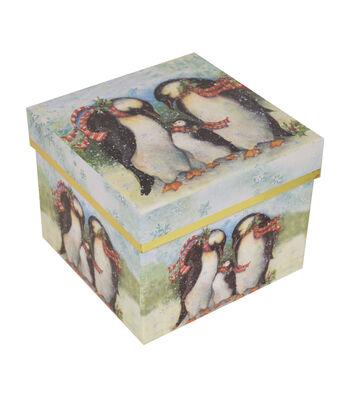 Maker's Holiday Large Square Storage Box-Penguin