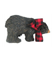 Maker's Holiday Christmas Large Sisal Bear with Plaid Scarf-Black, , hi-res
