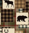 Anti Pill Fleece Fabric 58\u0027\u0027-Bear & Lake Silhouette Patch