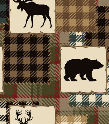 Anti Pill Fleece Fabric 58''-Bear & Lake Silhouette Patch