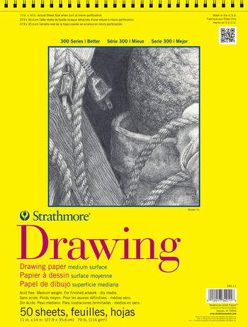 Strathmore® 300 Series 50 Sheets 11''x14'' Wire Bound Drawing Pad