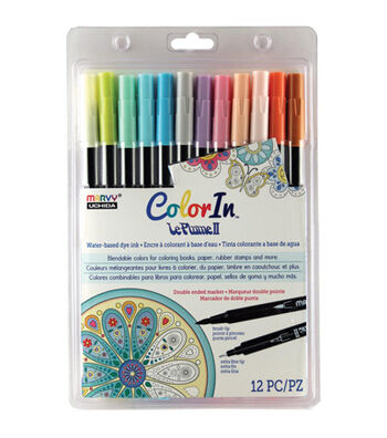 Color In Double-Ended Markers 12/Pkg-Pastel
