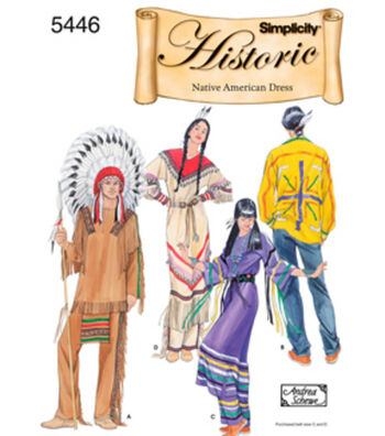 Simplicity Pattern 5446A Adult Native American Costumes-Size XS S M L XL