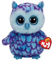 Ty Beanie Boos Oscar blue purple Owl Medium Plush, , hi-res
