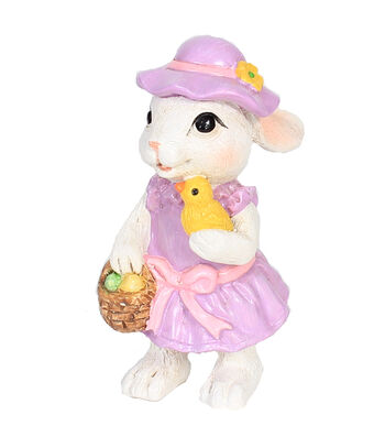 Easter Littles Resin Bunny with Pink Hat