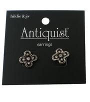 hildie & jo™ Antiquist Flower Antique Silver Earrings-Crystals, , hi-res