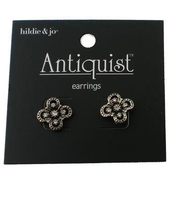 hildie & jo™ Antiquist Flower Antique Silver Earrings-Crystals