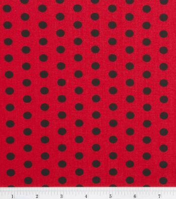"Keepsake Calico™ Cotton Fabric 43""-Zest Dot Black On Red"