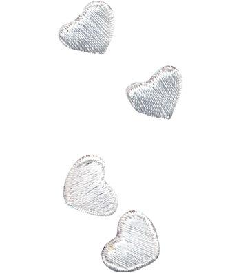 "Wrights Iron-On Appliques-White Hearts 3/8""X1/2"" 4/Pkg"