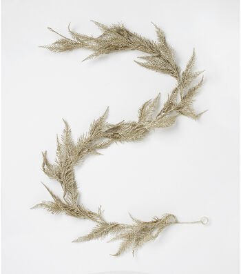 Blooming Holiday Christmas 66'' Glitter Spiked Fern Garland-Champagne