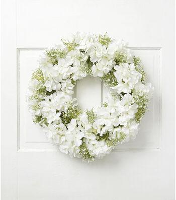 Fresh Picked Spring 21'' Hydrangea & Baby's Breath Wreath