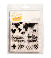 American Crafts™ Amy Tan Finders Keepers 9ct Acrylic Stamps-Map, , hi-res
